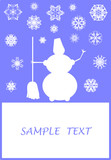Surreal Christmas design with snowflakes and snowman poster