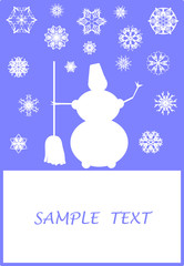 Surreal Christmas design with snowflakes and snowman