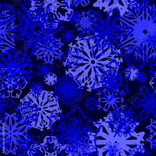 Seamless vector wallpaper with 3D snowflakes