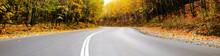 "Постер, картина, фотообои ""autumn road panorama"""