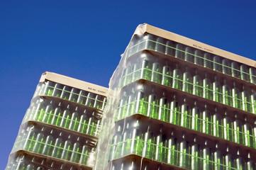 Stack of green glass bottles