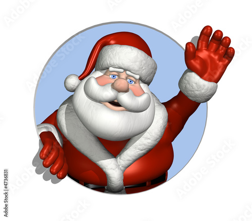 Santa Waving Through a Circle