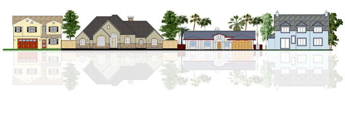 Street illustration, four different houses