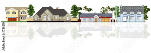 Street illustration, four different houses