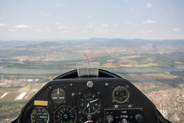 inside view in a glider, focus on the cockpit