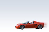 Bright red sports car isolated on gradient background poster
