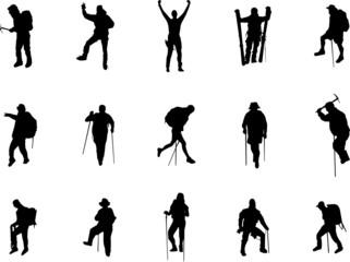mountai climber silhouettes