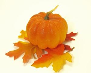 Pumpkin on Leaf Pile Isolated
