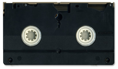 Old video cassette tape back including clipping path