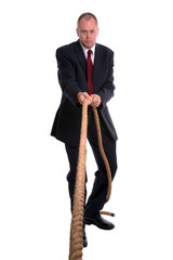 Businessman pulling rope.