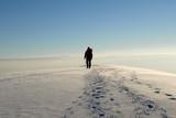 One man climber trekking  on a mountain poster