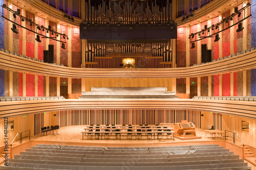 modern auditorium inside with an organ