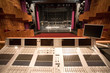 modern theater stage and an audio-mixer