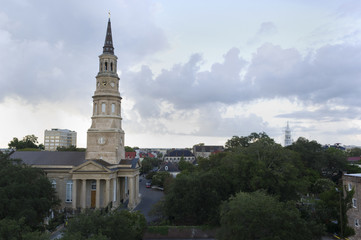 Charleston SC skyline with church