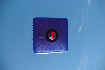 Square shaped hot air balloon viewed from below