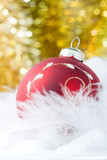 Christmas red  ball with bokeh golden stars poster