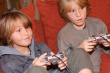 happy children playing video games poster