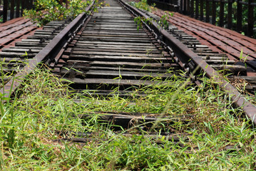 Deserted railway tracks in the towns