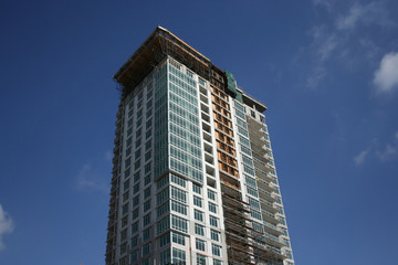 skyscraper with scaffolding