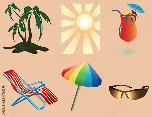 canvas print picture Beach objects