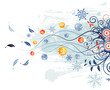 Christmas background with baubles, vector illustration
