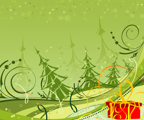 Christmas background with christmas tree and gift, vector