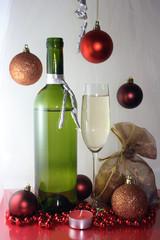 White wine glass bottle Christmas decoration