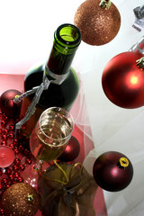 White wine glass bottle Christmas decoration