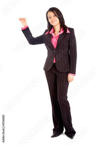 business woman displaying your product