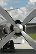 propeller and engine of a vintage airplane