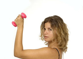young fitness female with dumbell isolated