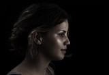 Dreamy portrait - Woman profile on dark background poster