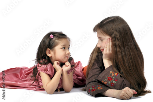 Two girls look friend on friend