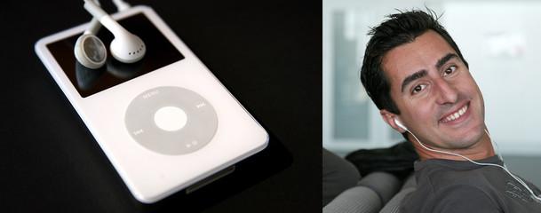 Homme écoutant de la musique sur un ipod - compo #1