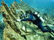 Underwater photographer on a wreck