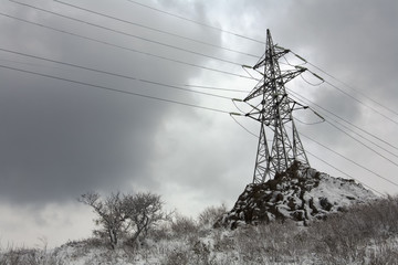 power tower after snowfall
