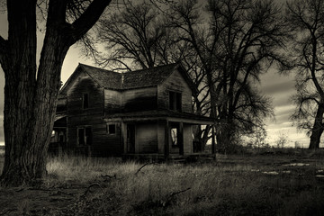 haunted house monochrome