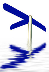 direction sign with tree arrows reflected