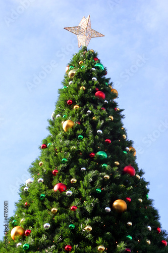 Christmas tree with ornaments and star