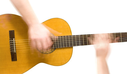 Classical acoustic guitar and hands of musician