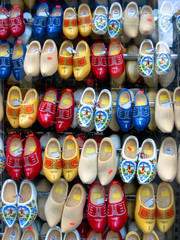 colorful shoe display in Amsterdam shop