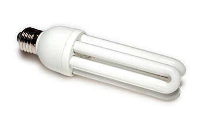 energy-saving lamp at white
