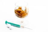 Medical dessert made of pills; syringe as a sponge poster