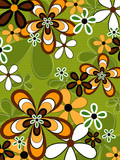 retro orange and green flower power