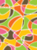 retro scribble orange yellow pink pattern