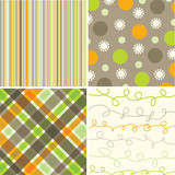 retro orange green brown pattern combo - illustrated pattern