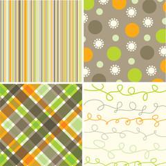 retro orange green brown pattern combo - illustrated pattern