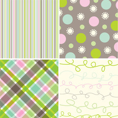 retro sweet pink green pattern combo