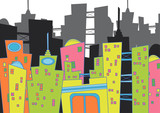 Fototapety cityscape - cartoon illustration