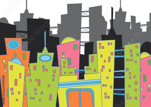 cityscape - cartoon illustration